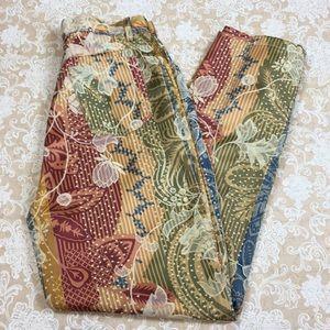 Cache Floral Print Straight Leg Pants